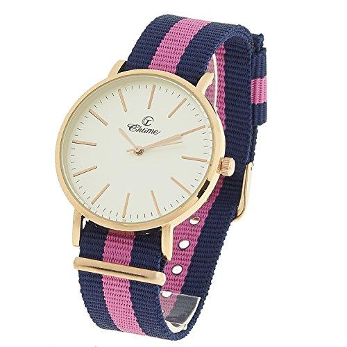 Montre Concept Geschenkschatulle Damen Armband Nylon Mehrfarbig Zifferblatt rund Farbe Gold Rosa Boden Weiss mvs 2 00287