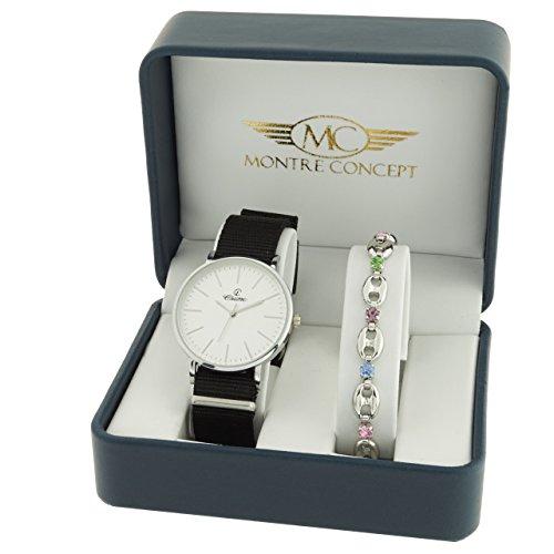 Montre Concept Geschenkschatulle Geschenkbox zeigt Damen mit Ein schoenes Armband Zeigt Analog Armband schwarz Zifferblatt rund Boden Weiss BF4 2 00280