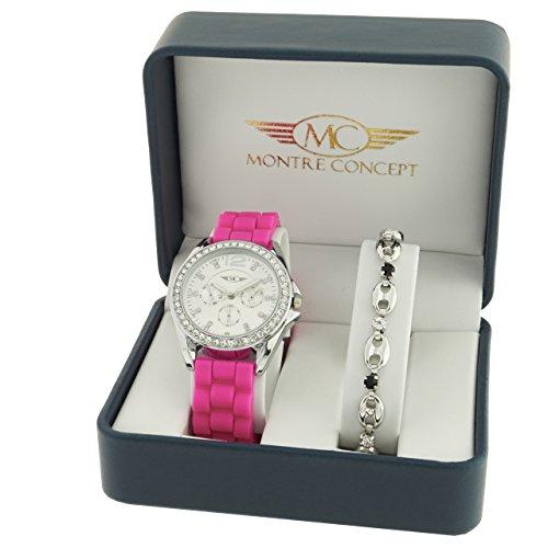 Montre Concept Geschenkschatulle Geschenkbox zeigt Damen mit Ein schoenes Armband Zeigt Analog Armband rosa Zifferblatt rund Boden Silber BF1 2 00108