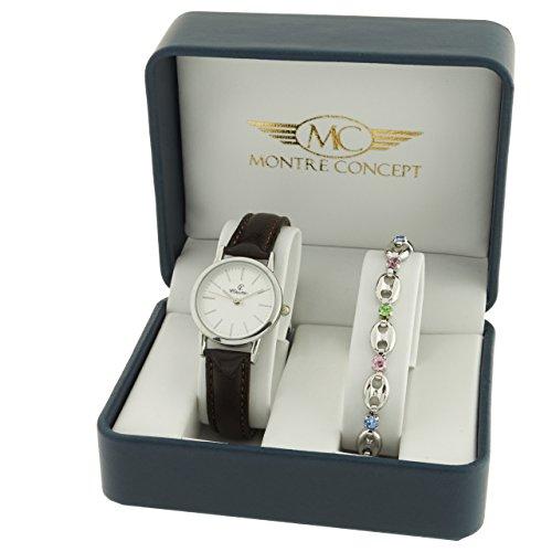 Montre Concept Geschenkschatulle Geschenkbox zeigt Damen mit Ein schoenes Armband Zeigt Analog Armband braun Zifferblatt rund Boden Weiss BF4 2 00099