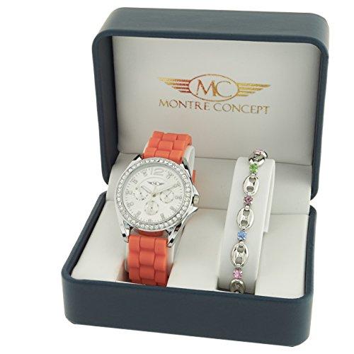 Montre Concept Geschenkschatulle Geschenkbox zeigt Damen mit Ein schoenes Armband Zeigt Analog Armband Orange Zifferblatt rund Boden Silber BF4 2 00107