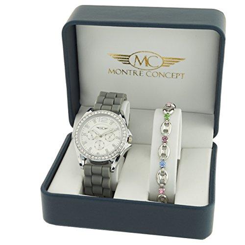 Montre Concept Geschenkschatulle Geschenkbox zeigt Damen mit Ein schoenes Armband Zeigt Analog Armband grau Zifferblatt rund Boden Silber BF4 2 00104