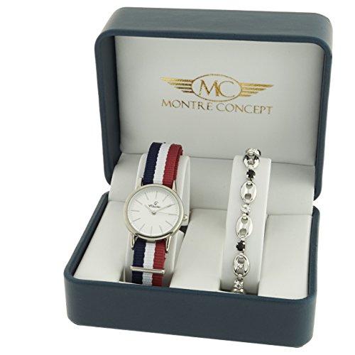 Montre Concept Geschenkschatulle Geschenkbox zeigt Damen mit Ein schoenes Armband Zeigt Analog Armband Mehrfarbig Zifferblatt rund Boden Weiss BF1 2 00097