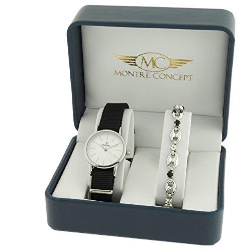 Montre Concept Geschenkschatulle Geschenkbox zeigt Damen mit Ein schoenes Armband Zeigt Analog Armband schwarz Zifferblatt rund Boden Weiss BF1 2 00095