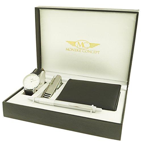 Montre Concept Geschenkschatulle Geschenkset Armbanduhr mit Messer Multifunktions Portfolios und Stift ccp 1 0076