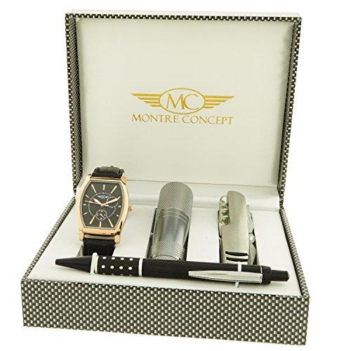 Montre Concept Geschenkschatulle Geschenkset Armbanduhr mit Messer Multifunktions Taschenlampe und Stift ccl 1 0074