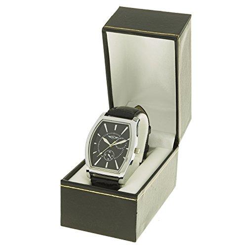 Montre Concept Geschenkschatulle zeigt Analog Herren Armband Leder schwarz Zifferblatt Rechteckig Farbe Silber Boden schwarz mab 1 0075