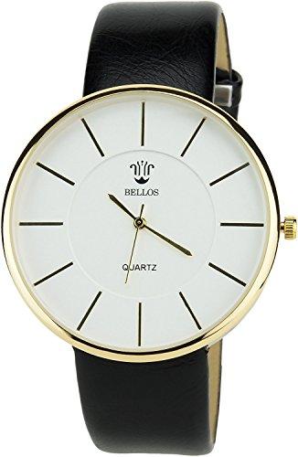 Montre Concept Uhr analog Maenner Armband kunstleder schwarz gehaeusering rund farbe gold zifferblatt weiss MVS 1 0034