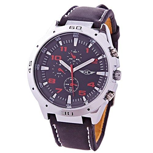 Montre Concept Uhr analog Maenner Armband kunstleder schwarz gehaeusering rund farbe silber zifferblatt schwarz MVS 1 0073