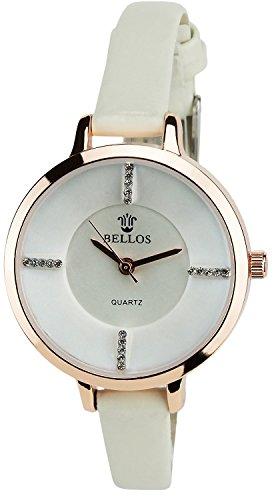 Montre Concept Uhr analog Frau Armband kunstleder beige gehaeusering rund farbe gold rose zifferblatt weiss strass MVS 2 00052