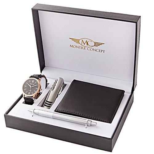 Montre Concept Herren Geschenkset mit Armbanduhr Multifunktions Messer Portemonnaie und Kugelschreiber Referenz CCP1146 NOIR OR ROSE