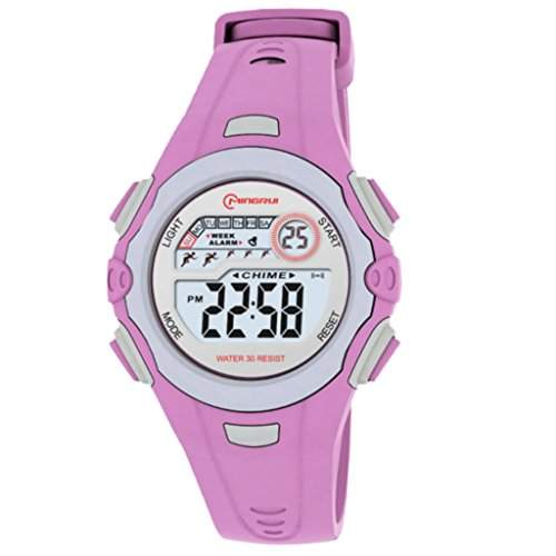 Concept Mingrui Armbanduhr Damen Kinder, digital, Uhrband aus Kunststoff, Zifferblatt rund Grau, Armband BT-MR8550 Violett