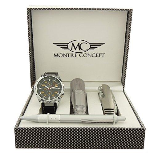 Gift Ideas Geschenkset Armbanduhr mit Messer Multifunktions Taschenlampe und Kugelschreiber Montre Ref Concept Geschenkschatulle ccla765 orange