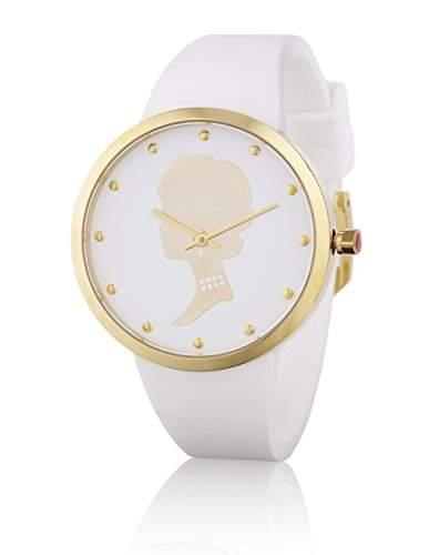 Lulu Guinness Lulu Guinness goldfarben Kamee womenArmbanduhr Quarz-Uhr mit weissem Zifferblatt Analog-Anzeige und weisse Silikon Strap 0950289