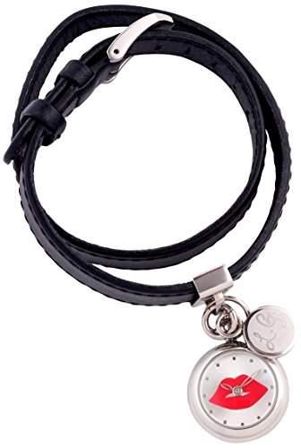 Lulu Guinness Lulu Guinness schwarz doppelt womens Watch Armbanduhr mit silberfarbenem Zifferblatt Analog-Anzeige und schwarzem Lederarmband 0950359