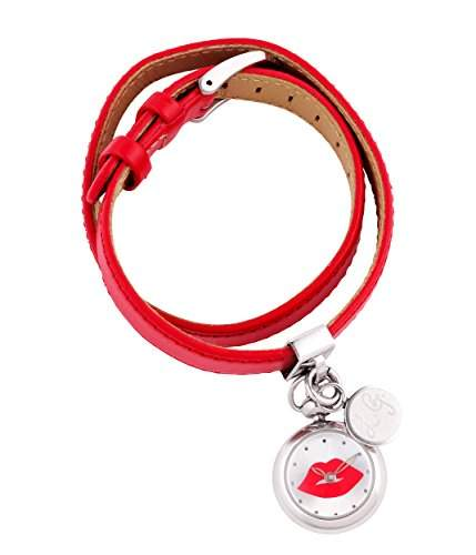 Lulu Guinness Lulu Guinness rot doppelt gewickelt womens Watch Armbanduhr mit silberfarbenem Zifferblatt Analog-Anzeige und Lederband 0950369