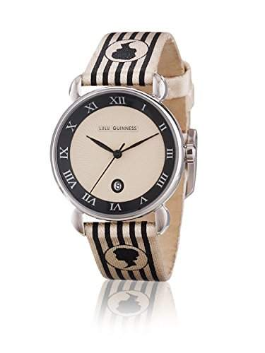 Lulu Guinness Lulu Guinness-Silber 925 Cameo Stripe womenDamen Armbanduhr, Quarzuhr mit beige Dial Analog-Anzeige und Lederband 0950429 beige