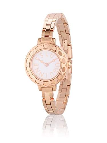 Lulu Guinness Lulu Guinness Bronze womenArmband Armbanduhr Quarz-Uhr mit weissem Zifferblatt Analog-Anzeige und Silber-Armband vergoldet 0950459