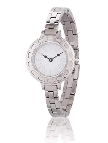 Lulu Guinness Lulu Guinness womenSilber Armband Armbanduhr Quarz-Uhr mit weissem Zifferblatt Analog-Anzeige und-Silber-Armband Silber 0950469
