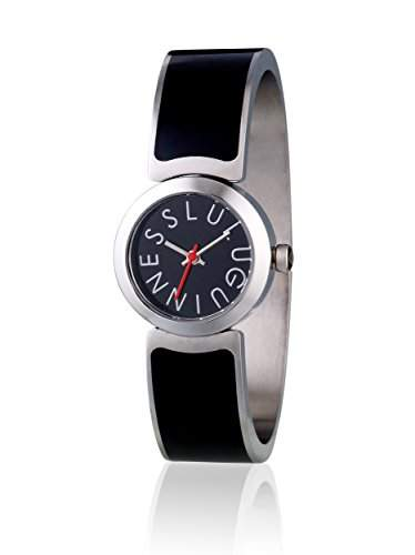 Lulu Guinness Lulu Guinness black Armspange womens Armbanduhr Quarz-Uhr mit schwarzem Zifferblatt Analog-Anzeige und Schwarz-Silber Armreif 0950499
