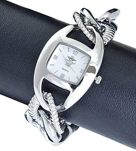 Michael John Damenuhr Weiss Silber Analog Metall Armbanduhr Quarz Uhr