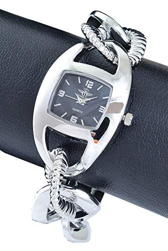 Michael John Damenuhr Schwarz Silber Analog Metall Armbanduhr Quarz Uhr