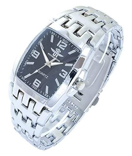 Michael John Herrenuhr Schwarz Silber Analog Metall Armbanduhr Quarz Uhr