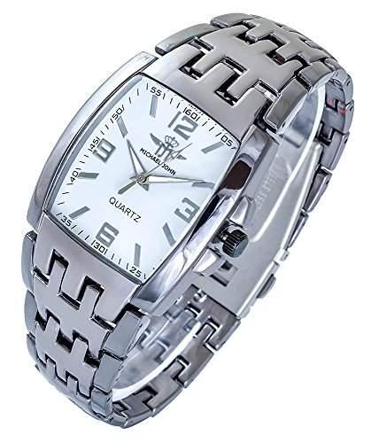 Michael John Herrenuhr Weiss Titan Look Analog Metall Armbanduhr Quarz Uhr