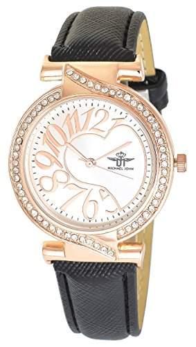 Michael John Damenuhr Silber Schwarz Gold Analog Metall Leder Strass Armbanduhr Quarz Uhr