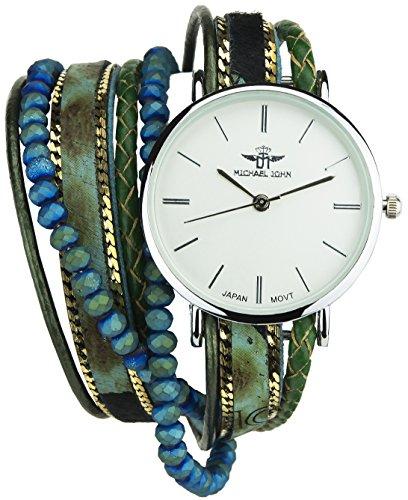 Double Wrap Silber Quarz Boitier Stahl Anzeige Analog Armband Double Tour Kunstleder gruen blau
