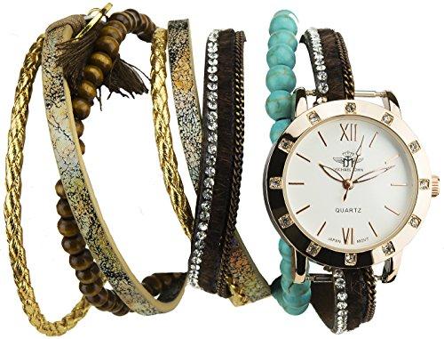 Double Wrap Silber or rosaQuarz Boitier Stahl Anzeige Analog Armband Double Tour Kunstleder multicolor