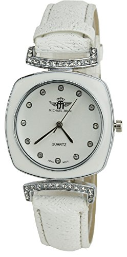 MICHAEL JOHN weiss Quarz Gehaeuse Stahl Analog Display Typ Armband SIMILI weiss