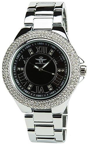 MICHAEL JOHN Damen Armbanduhr Schwarz Quarz Stahlgehaeuse Analog Anzeige Stahl Armband Silber