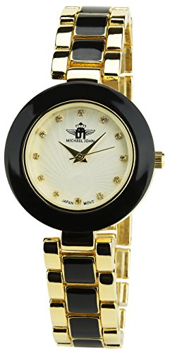 MICHAEL JOHN Damen Armbanduhr Silber Quarz Stahlgehaeuse Analog Anzeige Stahl Armband Schwarz Gold
