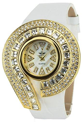 MICHAEL JOHN Damen Armbanduhr weiss Gold Quarz Gehaeuse Stahl Analog Display Typ Armband Kunstleder weiss