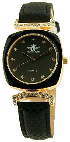 MICHAEL JOHN schwarz Gold Quarz Modus Stahl Armband schwarz new