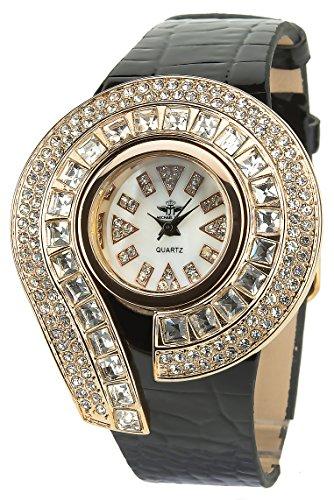 MICHAEL JOHN Dammen Armbanduhr weiss Gold rosa Quarz Gehaeuse Stahl Analog Display Typ Armband Kunstleder schwarz