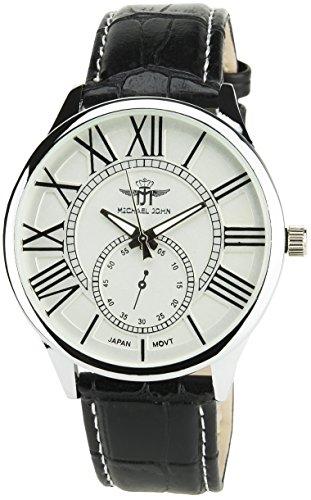 MICHAEL JOHN Herren Armbanduhr Silber Quarz Gehaeuse Stahl Analog Display Typ Armband Kunstleder schwarz