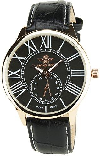 MICHAEL JOHN schwarz Gold rosaQuarz Gehaeuse Stahl Analog Display Typ Armband Kunstleder schwarz