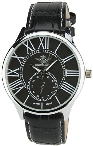 MICHAEL JOHN Herren Armbanduhr schwarz Quarz Gehaeuse Stahl Analog Display Typ Armband Kunstleder schwarz