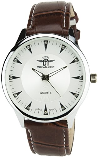 MICHAEL JOHN Herren Armbanduhr Silber Quarz Gehaeuse Stahl Analog Display Typ Armband Kunstleder braun