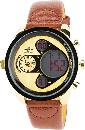 MICHAEL JOHN braun Gold Quarz Stahl Analog Digital Display Typ Alarm Chronometer Zwei ZeitzonenSport Modus Armband braun Leder