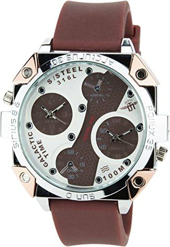 MICHAEL JOHN Herren Armbanduhr braun weiss Quarz Stahl Analog Display Typ Zwei Zeitzonenstilvoll Sport Modus Armband braun Silikon