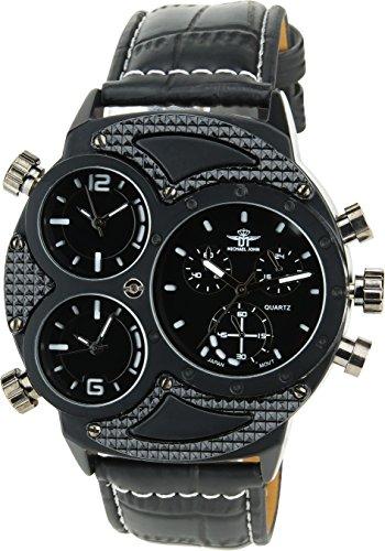MICHAEL JOHN schwarz Quarz Stahl Analog Display Typ stilvoll Sport Modus Dreifach Zeitzone Armband schwarz Kunstleder