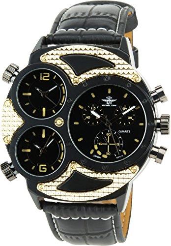 MICHAEL JOHN Herren Armbanduhr schwarz Gold Quarz Stahl Analog Display Typ stilvoll Sport Modus Dreifach Zeitzone Armband schwarz Kunstleder