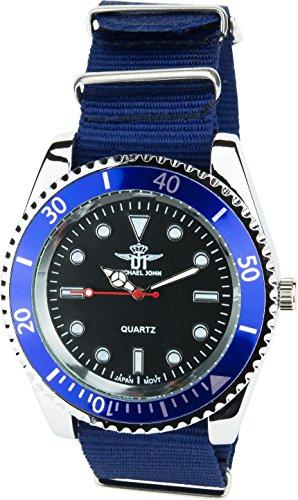 MICHAEL JOHN Herren Armbanduhr schwarz blau Quarz Stahl Analog Display Typ stilvoll Sport Modus Armband blau Nylon