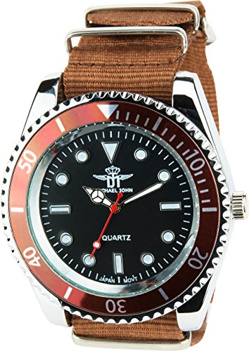 MICHAEL JOHN Herren Armbanduhr schwarz braun Quarz Stahl Analog Display Typ stilvoll Sport Modus Armband braun Nylon