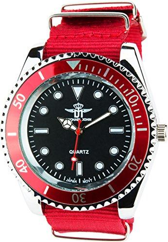 MICHAEL JOHN schwarz rot Quarz Stahl Analog Display Typ stilvoll Sport Modus Armband rot Nylon