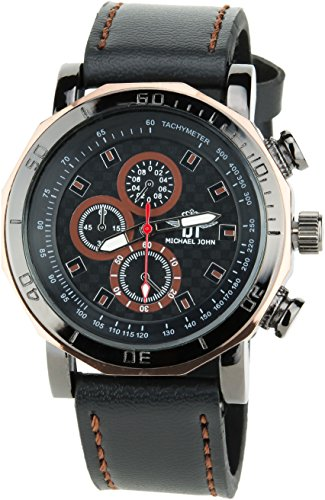 MICHAEL JOHN schwarz braun Quarz Stahl Analog Display Typ stilvoll Sport Modus Armband schwarz Kunstleder