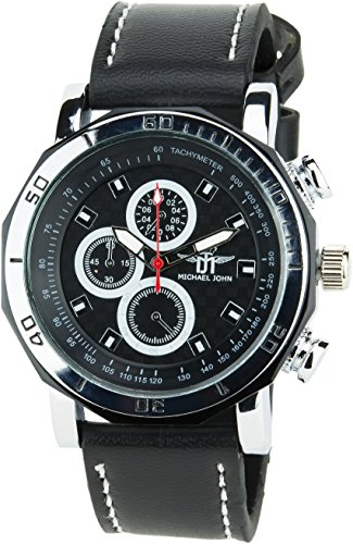 MICHAEL JOHN schwarz weiss Quarz Stahl Analog Display Typ stilvoll Sport Modus Armband schwarz Kunstleder